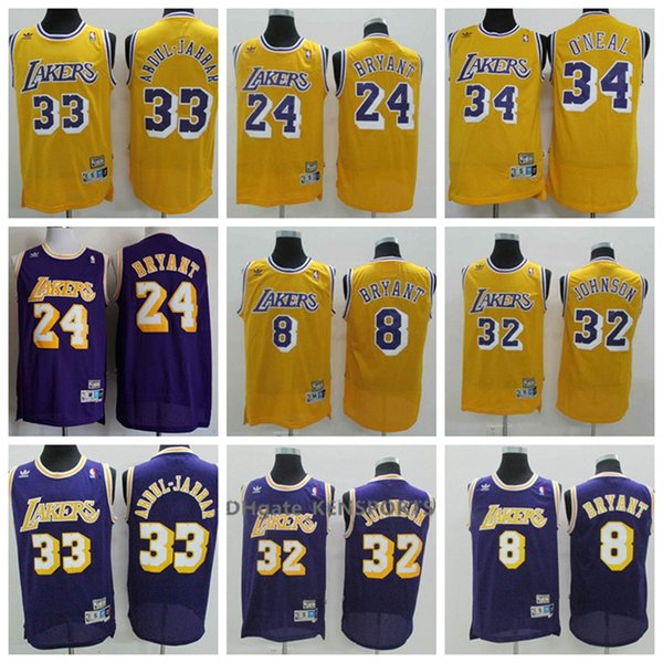 Los From 58 Colorful 33 Men Angeles Jerseys 2019 Johnson 24 Retro Bryant 18 Abdul Lakers O'neal Jabbar Jersey 34 32 Kobe Shaquille Basketball one 8