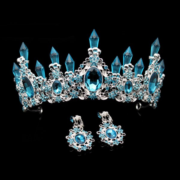 Fashion Beauty Sky Blue Crystal Wedding Crown And Tiara Large Rhinestone Queen Pageant Crowns Headband For Bride Hair Accessory Y19051302