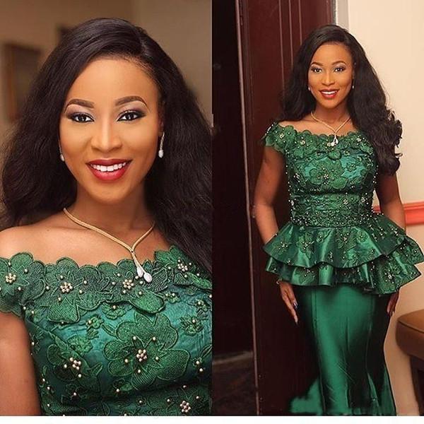 African Nigeria Dark Green Abendkleider Formales Türkei weg von der Schulter Appliques wulstige Peplum Frauen Gelegenheit Kleid-Abschlussball-Partei-Abnutzung