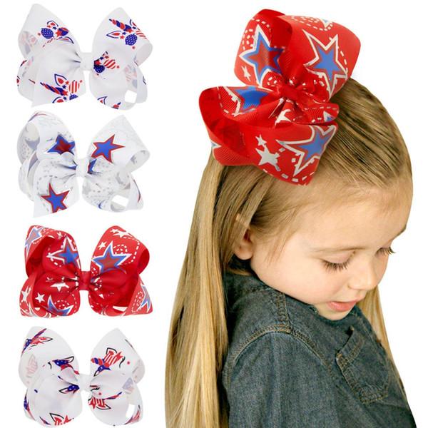Ribbon Hair Bow Alligator Clips Baby Cute Bowknot Barrette Fashion Girl Star Print Headwear Children Hair Accessories TTA750