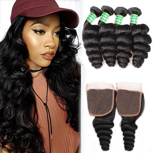 Suelte la onda brasileña del pelo humano 4 paquetes con el cierre Barato Extensiones brasileñas del pelo de la Virgen Suelta la onda paquetes con la armadura del cierre del cordón 4x4