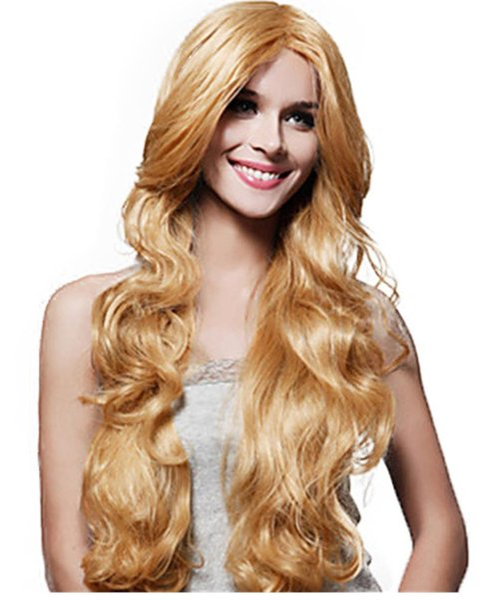 Europeia e americana senhoras estilo longo peruca de cabelo encaracolado moda grande onda loira peruca
