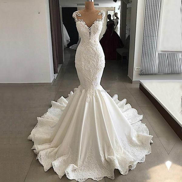 Vestido de novia sexy de sirena 2019 Vestido de novia con cuello en V de encaje con espalda descubierta transparente Vestido de novia real de marfil