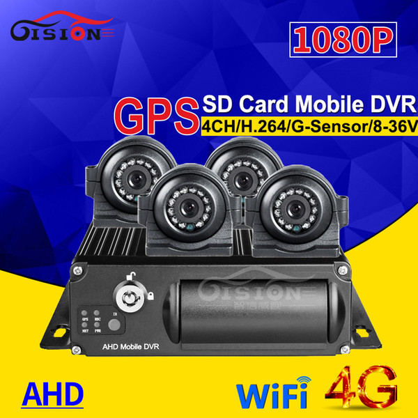 4CH Video / Ses Girişi 4G GPS Wifi Için 256G SD Araç Mobil Dvr Otobüs Taksi + 4 Adet AHD 2.0 CCTV Güvenlik Kamera Gece Görüş IR Mdvr araba