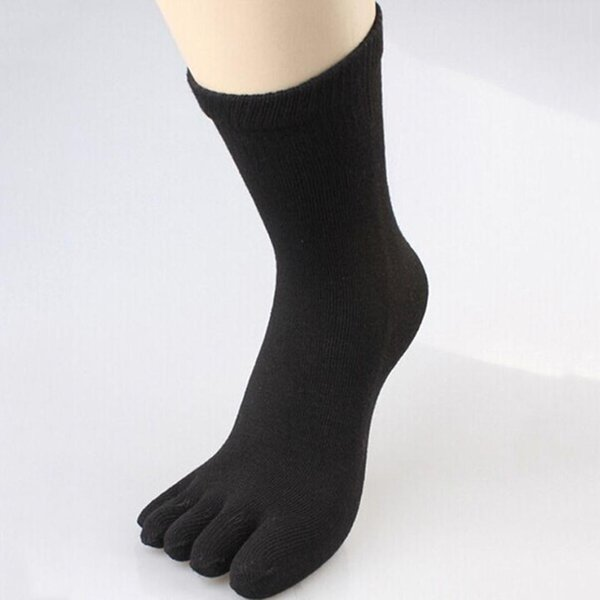 Men business five finger socks Comfortable casual Cotton Socks in the tube solid color Fashion breathable Full Five Toe
