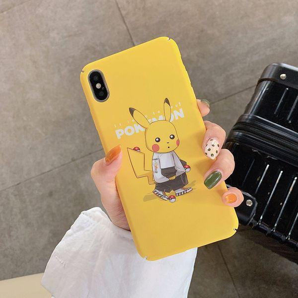 For Iphone Xr Xs Max Phone Case Tide Brand Pikachu Cartoon 6 7 8 X Plus Original PC Matte Hard Cell Phone Cases