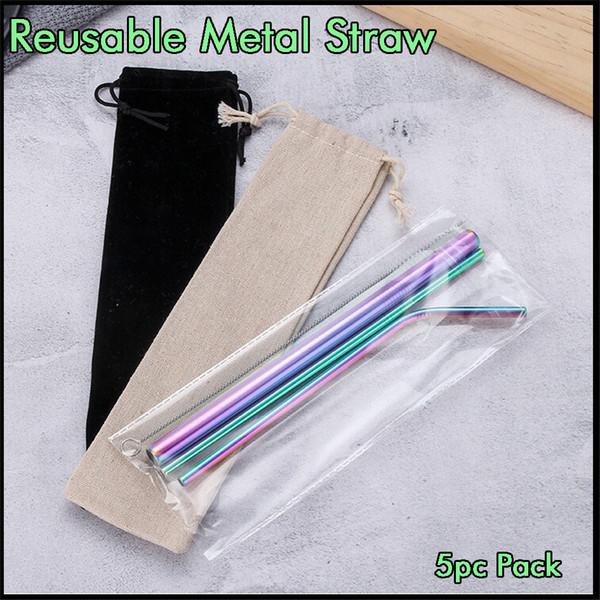 Colorful metal Palhas Bebendo 5pcs Kit reutilizável em aço inoxidável Palhas por vácuo Tumbler Canecas Copos com escova e Retail Bag Package