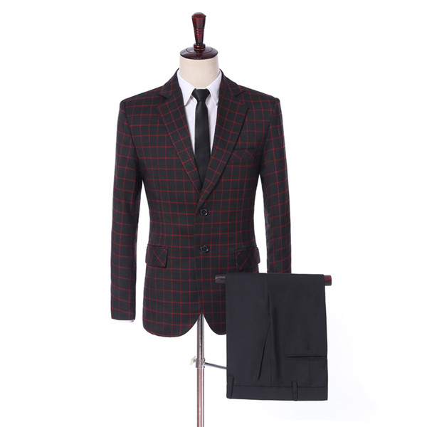 Latest Design Back Vent Two Buttons Glen Plaid Groom Tuxedos Notch Lapel Groomsmen Wedding Men Party Suits (Jacket+Pants+Tie) W39