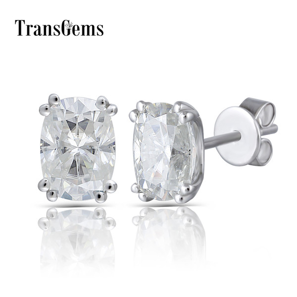 Transgems Solid 14k 585 White Gold 2ctw 5x7mm Gh Near Colorless Cushion Cut Moissanite Stud Earring Push Back For Women Jewlry Y19061203
