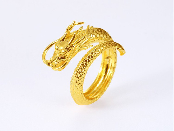 Vietnam Shajin faucet embossed domineering men's opening ring Brass plating 24k gold jewellery euro coin gold jewelry