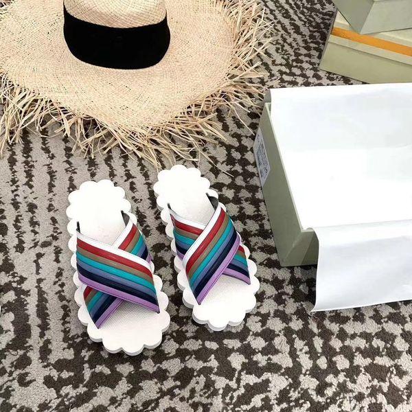 19SS new ARM brand 3 styles causal slippers women Rainbow gold silver start print slide sandals unisex outdoor beach flip flops