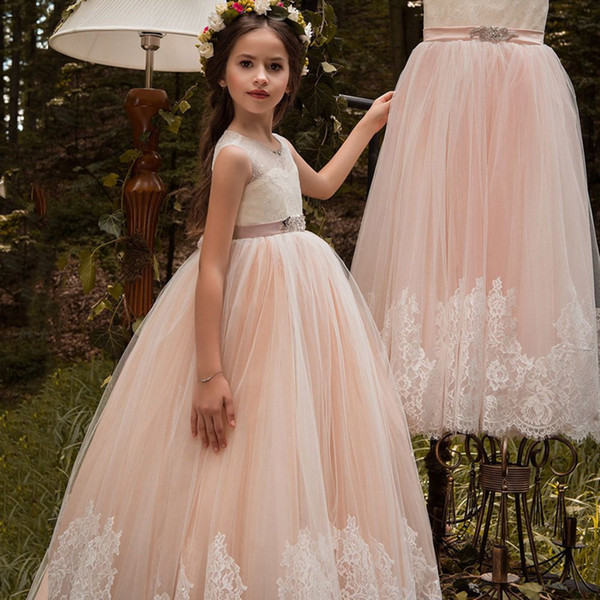 Little Girl Kids Clothing Lace Applique Full Length Ball Gown Flower Girl Dress Wish Bow Sash For Wedding Formal Occasion party