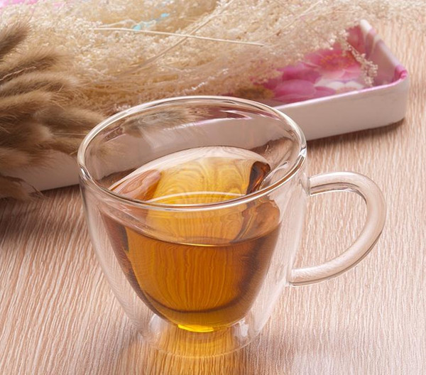 wholesale 240ML Heart Love Shaped Double Wall Layer Transparent Glass Tea Cup Lover Coffee Mug Gift