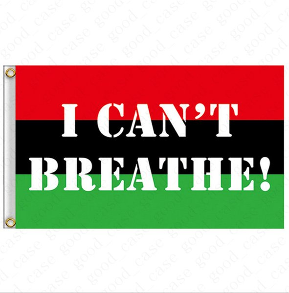 best selling 90*150CM I CAN'T BREATHE Flag 2020 Black Protest USA Banners Letters Print Garden Flags American Parade Flags Home Party Decor D6411