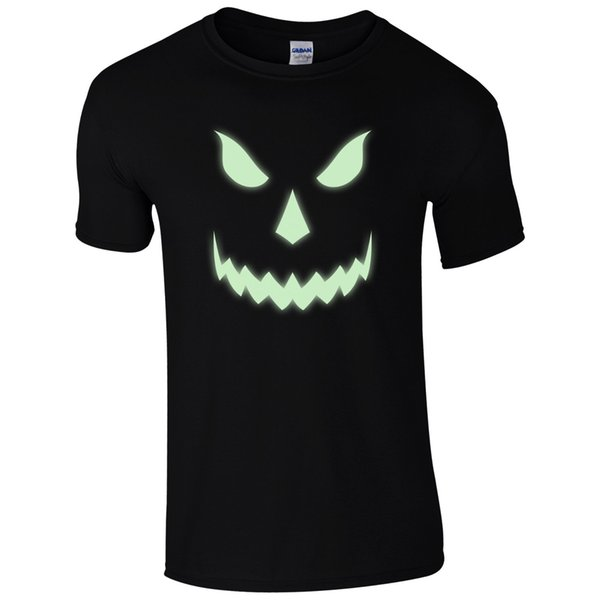 Halloween Scary T-Shirt - Pumpkin Glow In The Dark Face Unisex Mens Gift Top Funny free shipping Unisex Casual Tshirt