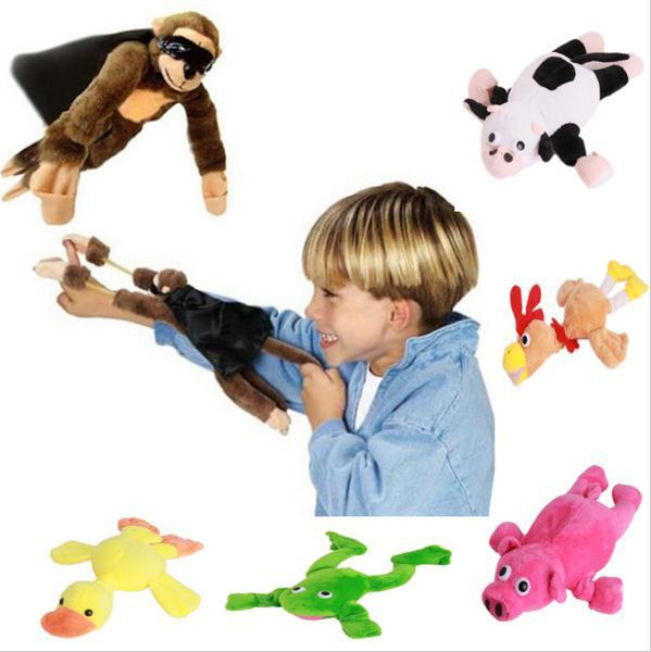 Soft Cute Children Boy Girl Child Kids plush Slingshot Screaming Sound Mixed for Choice Plush Flying Monkey Toy