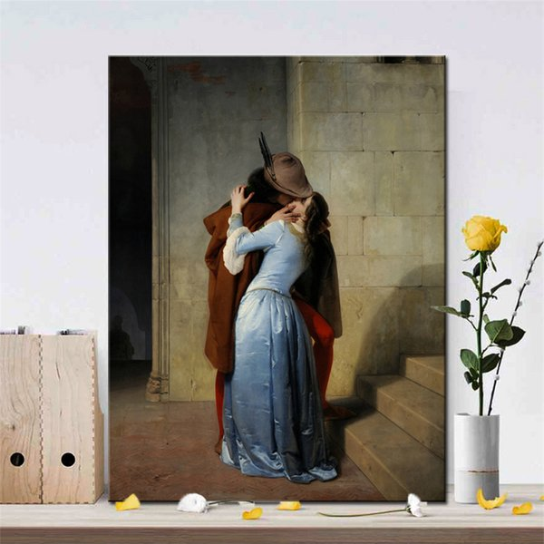 1 Pcs Italy Painter Francesco Hayez Kiss-Il Bacio Posters and Prints Wall Art Canvas Painting Lover Picture for Living Room No Frame