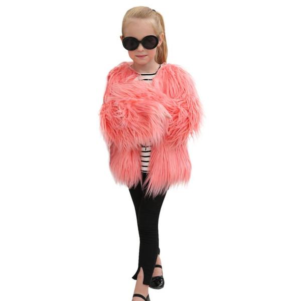 2018 Hot Fashion Kids Baby Girls Otoño Invierno Faux Fur Coat Jacket Grueso Ropa Outwear Ropa de los niños abrigos de piel niños