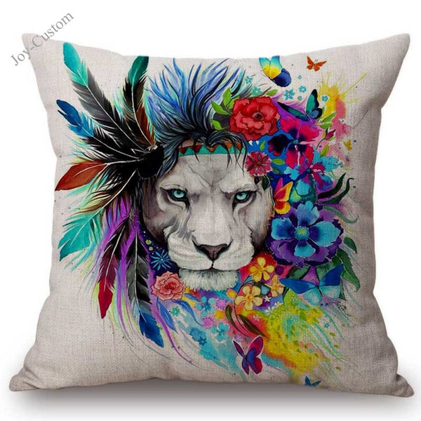 Nordic Animal Lion Home Decorative Throw Pillow For Sofa Watercolor Splatter Art Cotton Linen Square Office Chair Cushion Cover