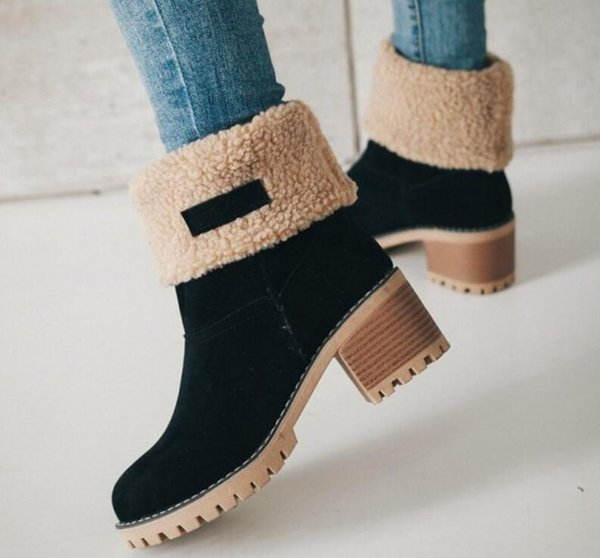 Pop 2019 Woman Matin Mid Calf Boots Square High Heels Slip On Ladies Chaussure Women Winter Snow Warm Shoes Zapatos Mujer Sapato
