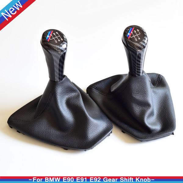 Palanca de cambio de marchas Palanca de mando HandBall 5/6 Velocidad Manual Car Styling para E90 E91 E92 E93 Con cubierta de cuero a prueba de polvo