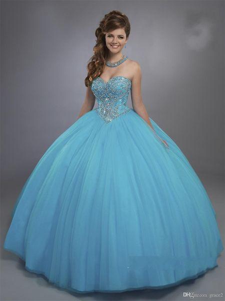 Blue Designer Quinceanera Dresses with Sheer Beaded Bolero Sparkly Sleeveless Sweet 15 16 Ball Gown Dresses Custom Made