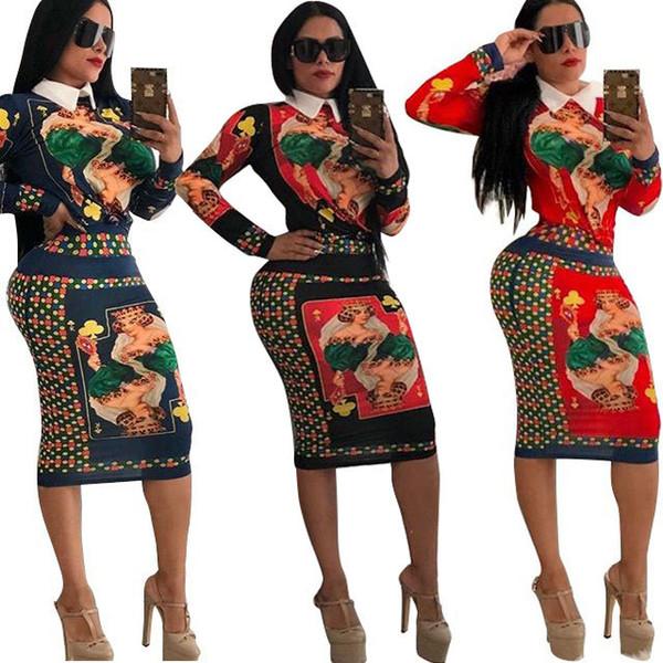 Женское Дизайнерское Платье Из Двух Частей Мода Живопись Шаблон Рубашка + Бедра Юбка Роскошное Bodycon Платье Оптом 3 Стиля EUR / US Размер S-XL