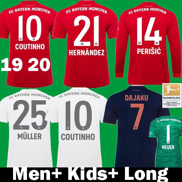 best selling 2019 2020 COUTINHO 10 HERNANDEZ PeriSiC Player Version Bayern Munich Soccer Jerseys PAVARD LEWANDOWSKI 19 20 kids kit Long Football Shirts