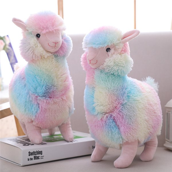 Cute Rainbow Alpaca Plush Toy Vicugna Pacos Soft Plush Alpacasso Sheep Llama Cartoon Animal Dolls Stuffed Toy for Girl Gift