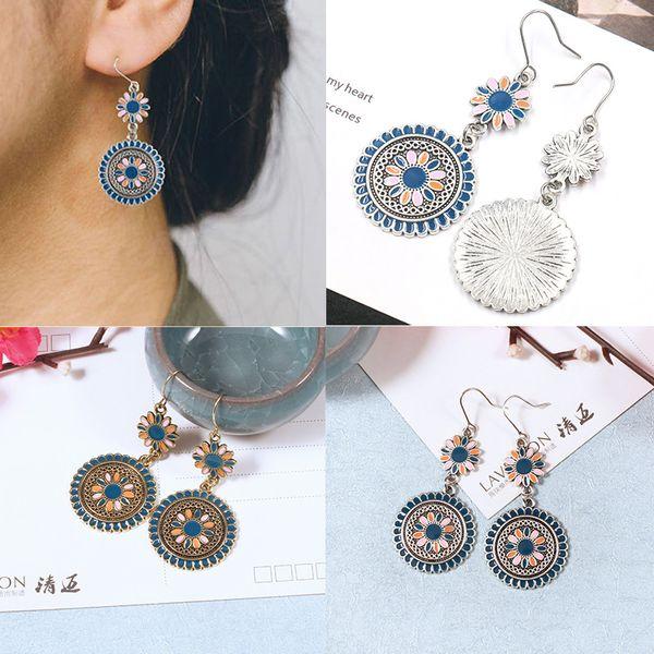 Coréenne vintage petite marguerite nouvelles femmes boucles d'oreilles créative motif de fleurs goutte d'huile boucles d'oreilles bijoux de mode