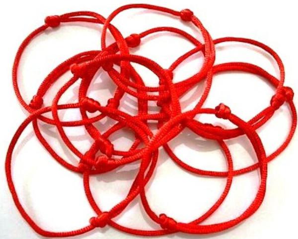 밀교 손으로 만든 붉은 문자열 팔찌 악마의 눈 보석 카발라 행운 팔찌 보호