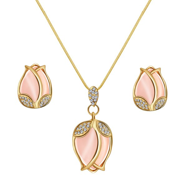MISANANRYNE Bridal Jewelry Sets Parure Bijoux Femme Pink Natural Stone Tulip Flowers Jewelry Wedding Sets 2019 New