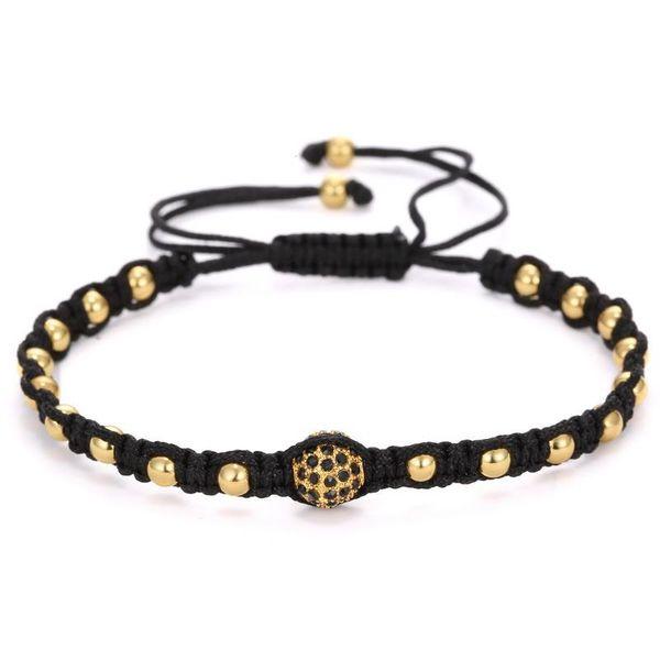 Wholesale-European Anil Arjandas Männer Armband 18K Vergoldete Perlen 8mm Micro Pave Black CZ Perlen Weben Geflochtene Makramee-Armband
