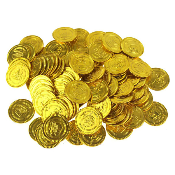 100pcs/lot Pirate Gold Coins Play Money Toys Halloween Supplies Party Props Pirate Ship Decoration Kids Game Toys