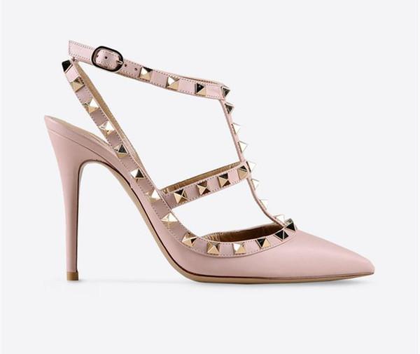 Diseñador 2019 mujeres tacones altos partido moda remaches niñas sexy zapatos puntiagudos zapatos de baile zapatos de boda correas dobles sandalias