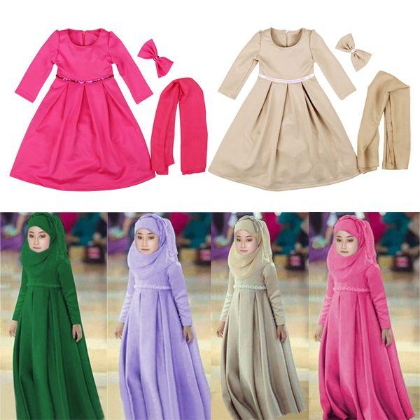 Vestito tradizionale musulmano delle ragazze Ramadan Abaya Solid Zipper Kaftans Bow a tre pezzi Set Kids Designer Dress Hijab Sciarpa Costume Party Outfit