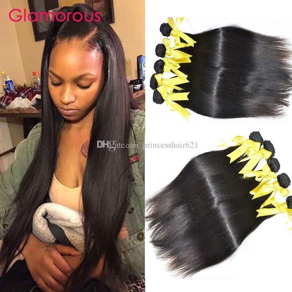 Glamorous Brazilian Hair Weaves 5Pcs/Lot Good Quality Peruvian Indian Malaysian Straight Human Hair Extensions Cheap Hair Bundles