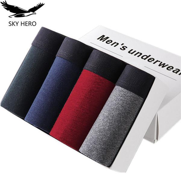 4pcs/lot Skyhero Male Panties Cotton Men's Underwear Boxers Breathable Man Boxer Solid Underpants Comfortable Brand Shorts Jdren T2190601