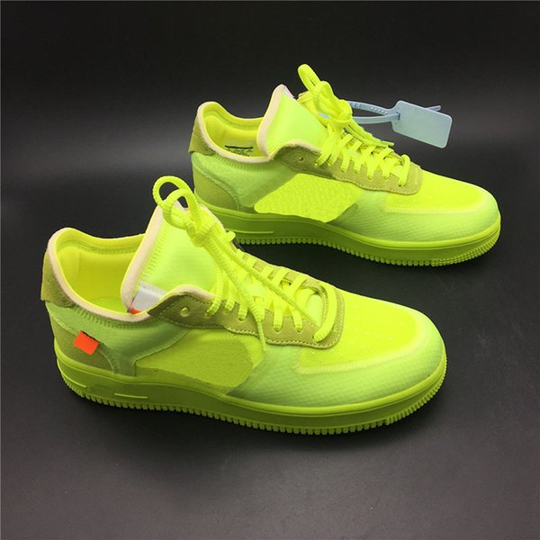 Top Blanc x 1 07 Volt Chaussures De Skateboard Hommes Vert Fluorescent Transparent Design Chaussures De Sport Chaud Designer Trainer Sneakers Haute Qualité