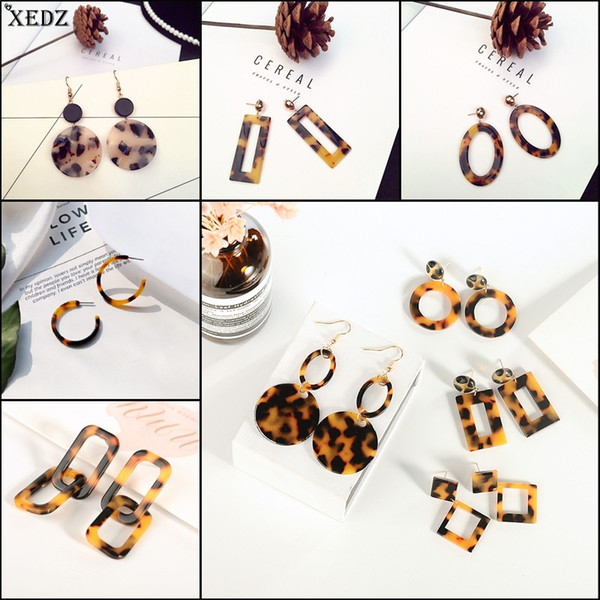 2019 Sexy Leopard Acetate Resin Geometric Pendant Korean Brown Acrylic Round Earrings Fashion trinket Women girl Jewelry Gifts