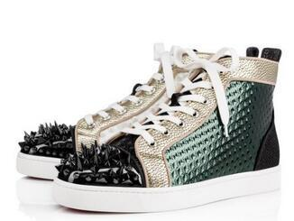Men's Flat Red Bottom Pik-bis High-top Sneakers Painting Argento Crackled Vernice in pelle Pik Pik Spiked Shoes Wedding Party Dress Traine