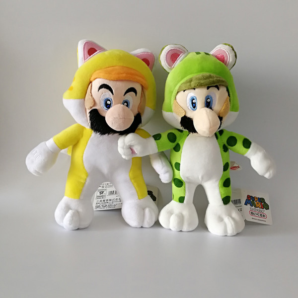 New Mario Luigi Cosplay Cat Super Mario Bros Soft Toy Plush Doll Collection For Kids Holiday Best Gift 8.5inch 22cm