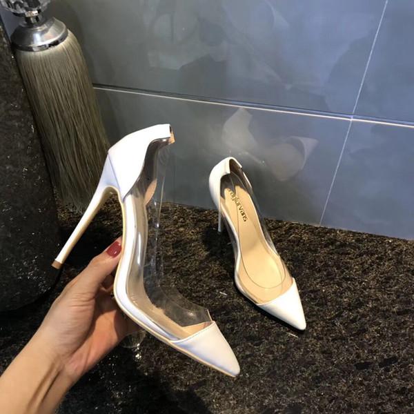 Sıcak Satış-Yeni stil şeffaf Kadın Ayakkabı Kırmızı Altlar Yüksek topuklu Seksi yaz Sivri Burun moda Kırmızı Taban 12 cm Pompala ...