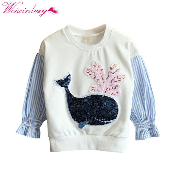 Bebek Kız Tişörtü İlkbahar / Sonbahar Uzun Kollu Karikatür Sequins Çizgili Dikiş Çocuk Hoodies çocuk T-shirt elbise