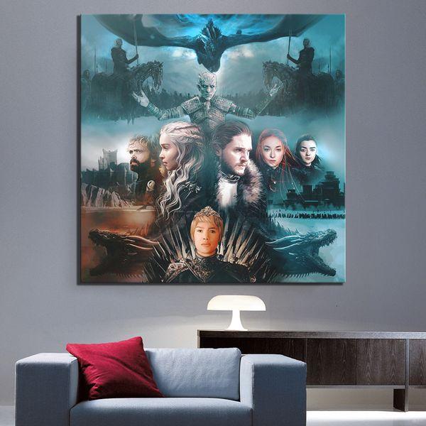 1 Piece Game of Thrones Affiche du film Peinture Création A Song of Ice and Fire Poster Canvas Art Peinture murale pour Home Décor SH190919