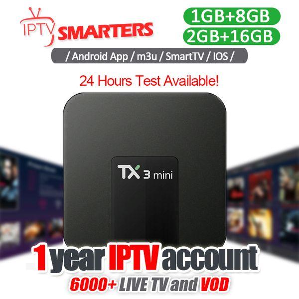 1 Ano IPTV Assinatura Com Android IPTV Box Suporte 30 + Países TV Ao Vivo Europa Árabe Abnegação Iptv Esportes EUA Mxq Pro
