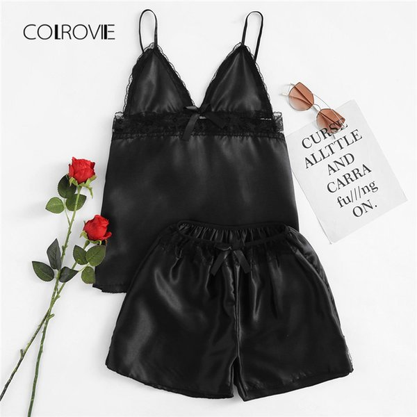 COLROVIE Plus Size Black Trim Bow Satin Cami & Shorts Lace Pajama Set 2018 Women V-Neck Pajamas Lounge Sleepwear Sexy Nightwear