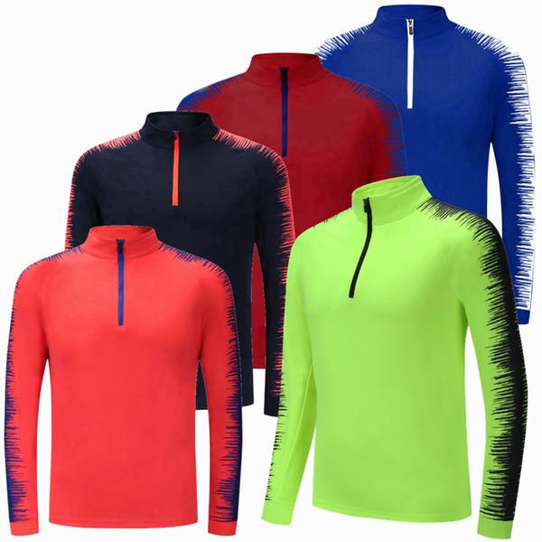 Frühling Winter Männer Kinder Laufen T Shirts mit langen Ärmeln Fußballtraining Fitness Jersey Reißverschluss Atmungsaktiver Samt Sportjacke