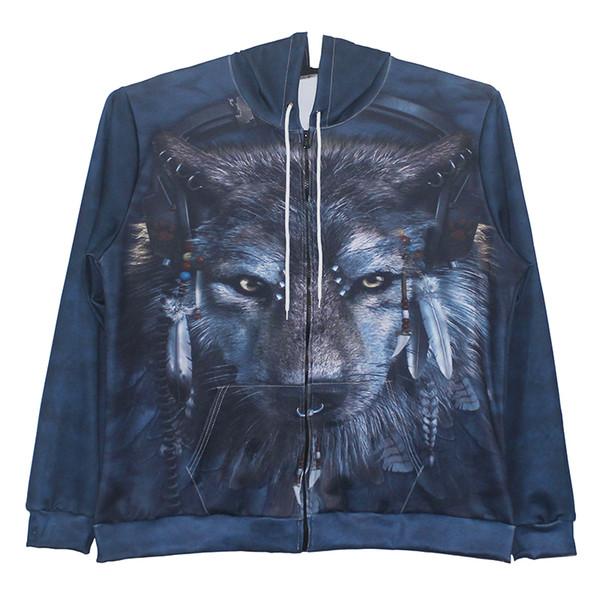 Men Zipper Hoodie Wolf Head 3D Full Printed Man Zip Hooded Sweatshirt Unisex Casual Hoodies Long Sleeves Sweatshirts Graphic Tops (RL0202)