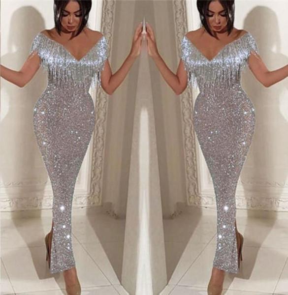 Women Sexy Bodycon Glitter Dress Off Shoulder Short Sleeve Sequined Evening Party Midi Tassel Bodycon Dresses Vestido
